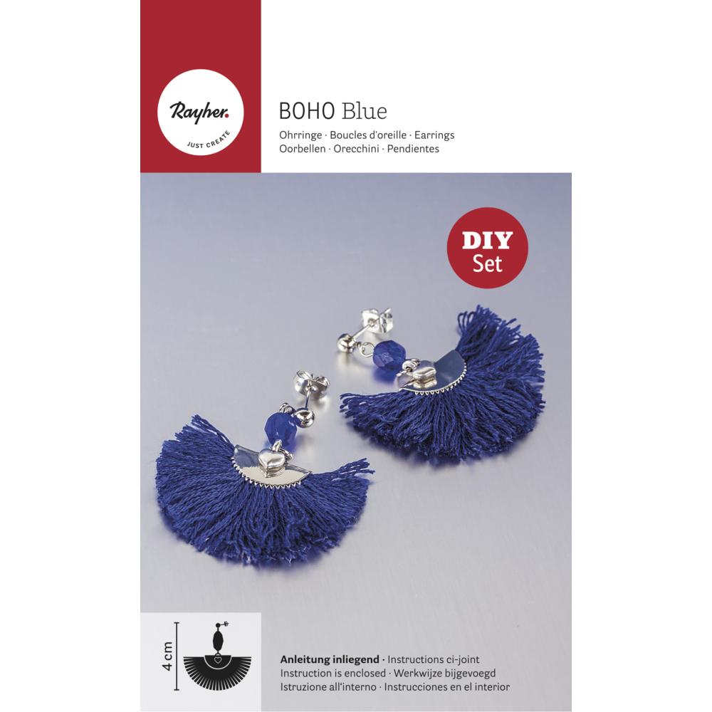Bastelpackung: Boho-Ohrringe Halbmond, SB-Btl 2Stück, echtblau/silber