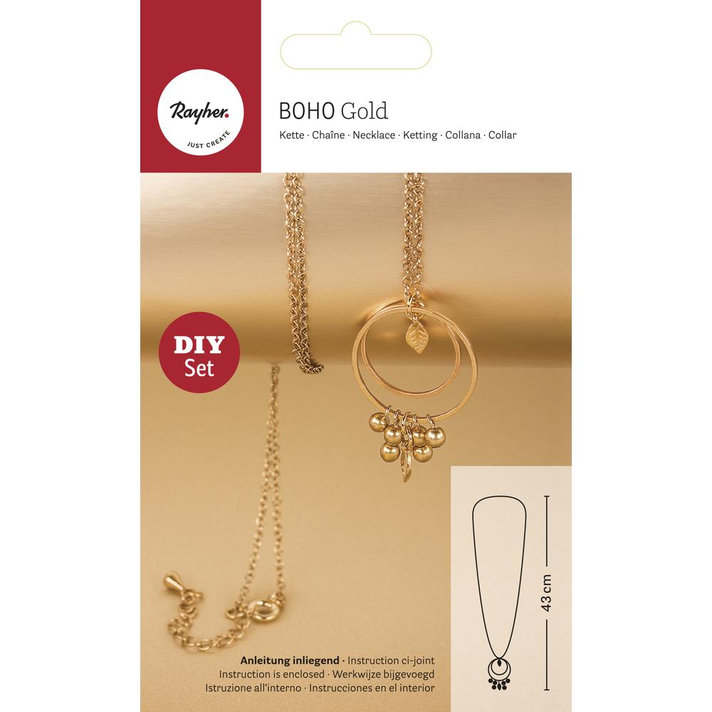 Bastelpackung: Boho-Kette Goldblatt, SB-Btl 1Stück, gold