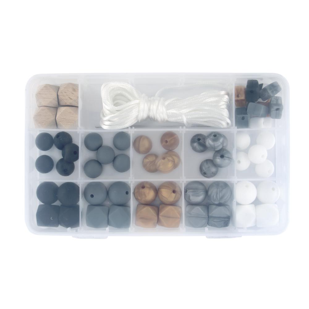 Silikonperlen Box, 61-teilig, inkl. Fädelschnur, Box