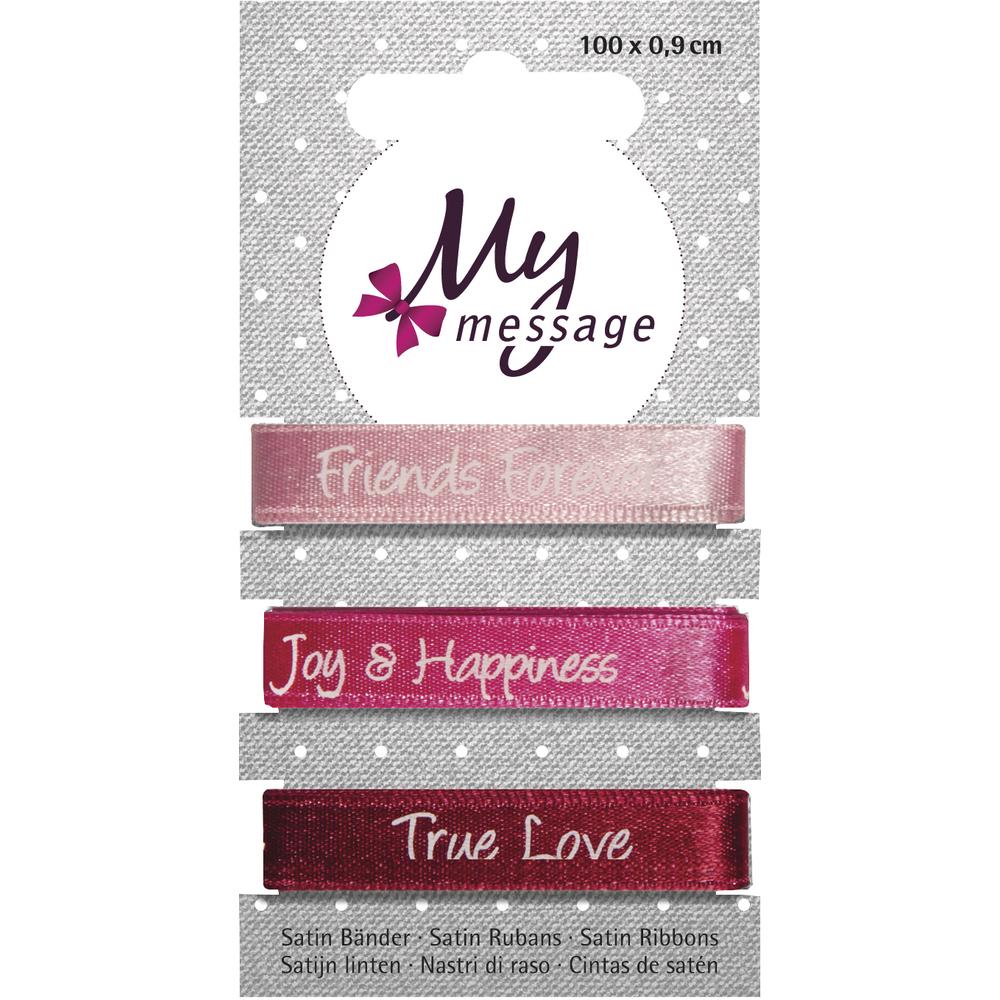 My Message Satin Bänder, 100x0,9cm, SB-Karte 3Stück, pink Töne