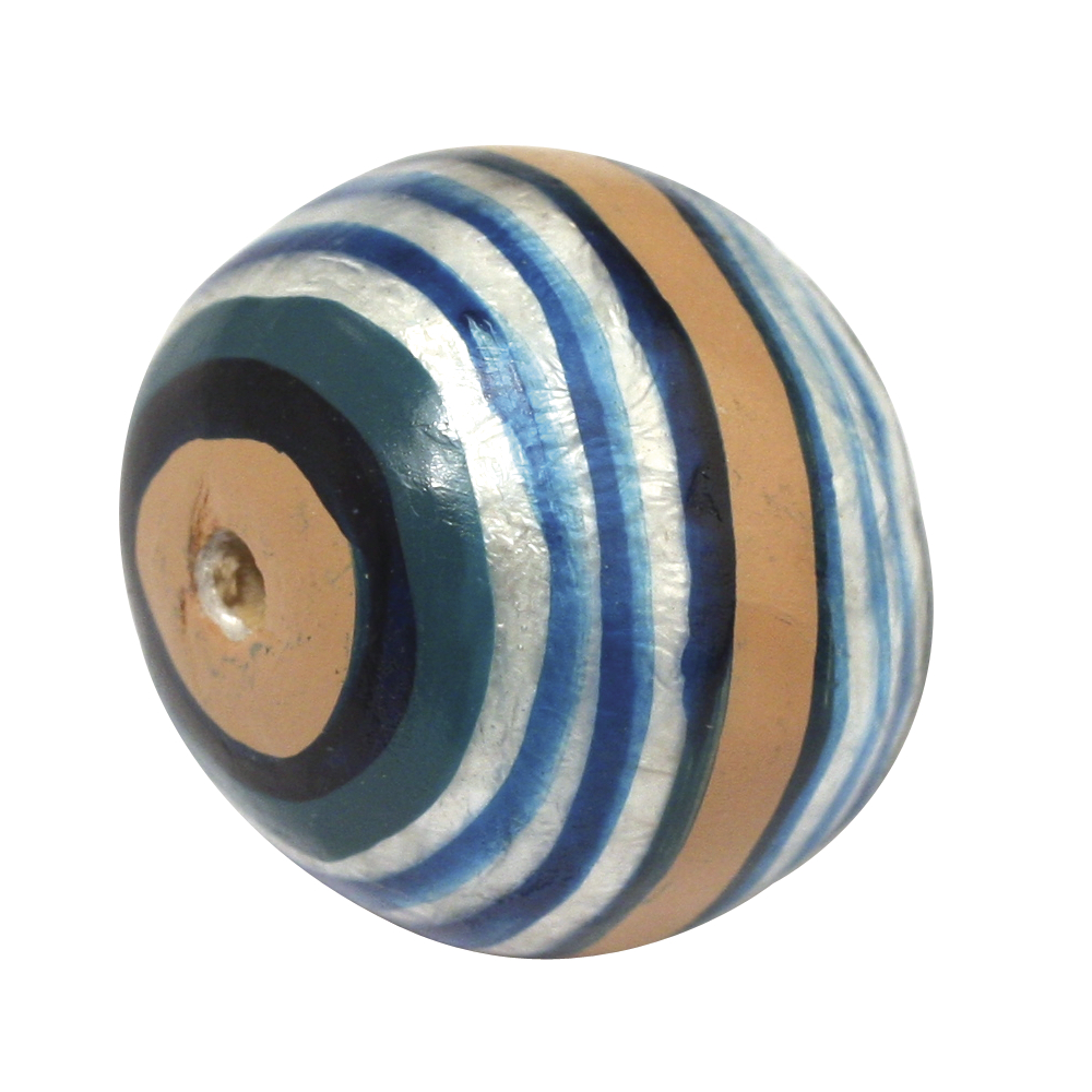 Capiz-Kugel, handbemalt, Streifen, 2 cm ø