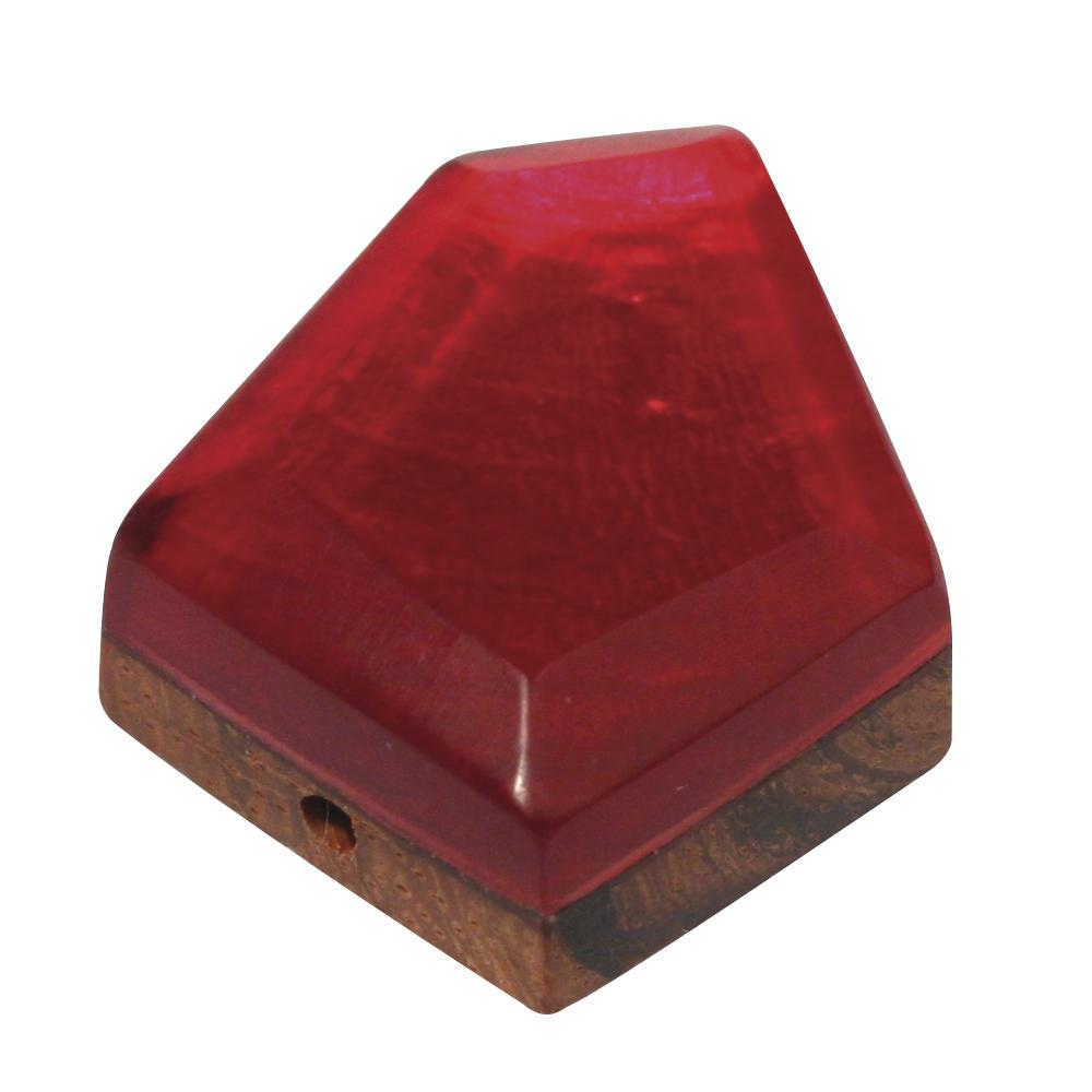 Perlmutt-Holzelement, 5 eck, 2,5 cm ø, kardinalrot