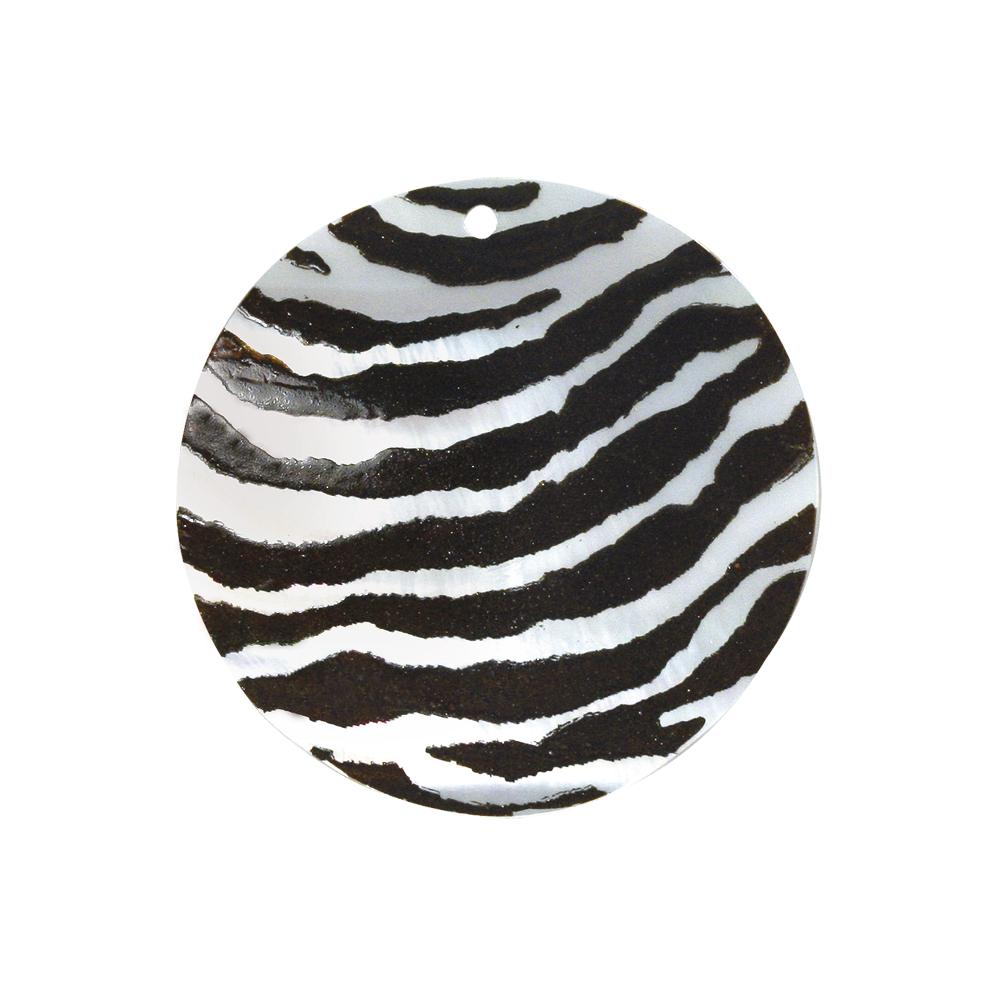 Perlmutt-Schmuckelement Scheibe, 30 mm, lose handbemalt Zebra