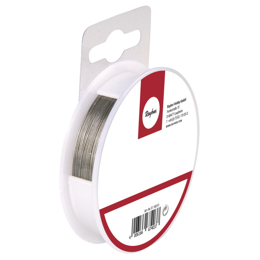 Schmuckdraht, Nylon coated, ø 0,38 mm, Spule 9,2 m, silber