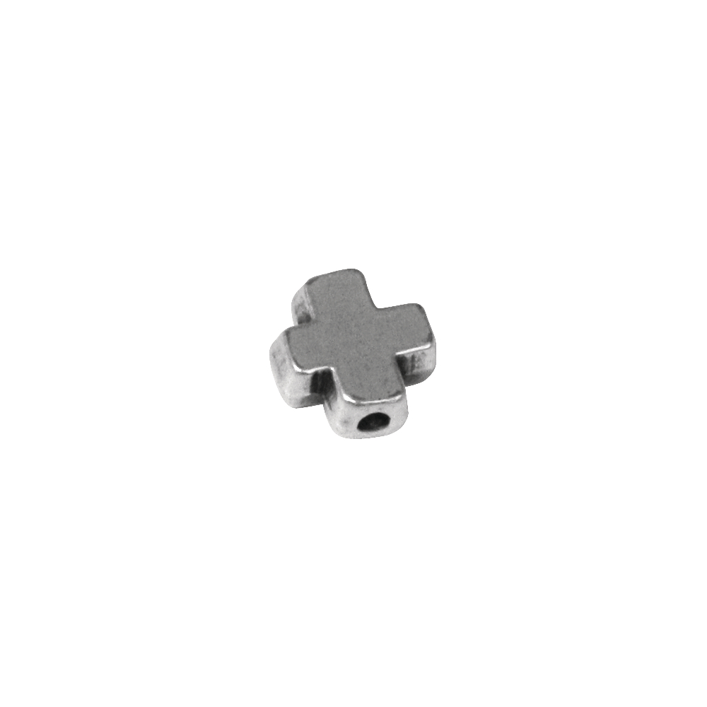 Metall-Zierelement Kreuz, 9mm, Loch ø 1mm, SB-Btl 3Stück, silber