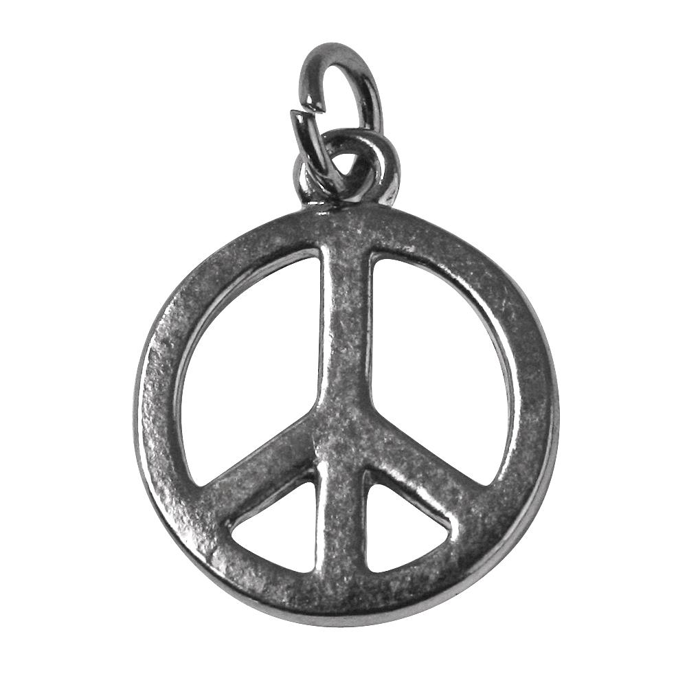 Metall-Anhänger Peace, 16mm, 16mm, Öse 2,5mm ø, lose, silber