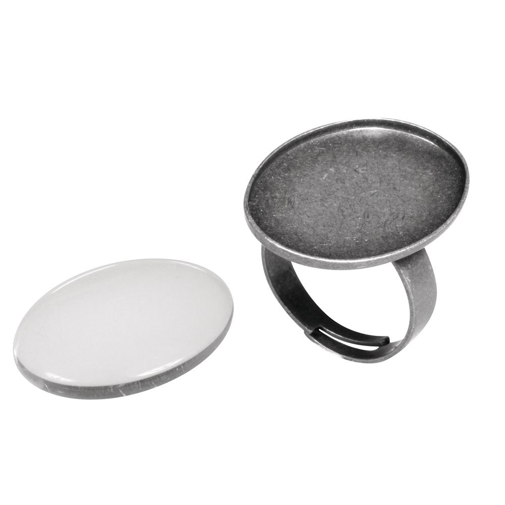 Metall- Fassung: Ring, 1,9x2,6cm, m. Cabochon, SB-Btl 1Set