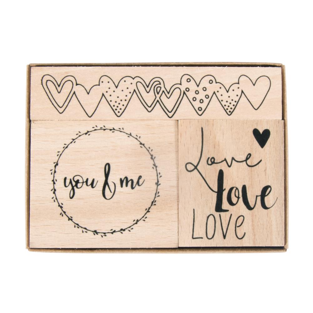 Holzstempelset Liebe, 3,2x3,8cm - 8,1x1,6cm, Box 3Stück