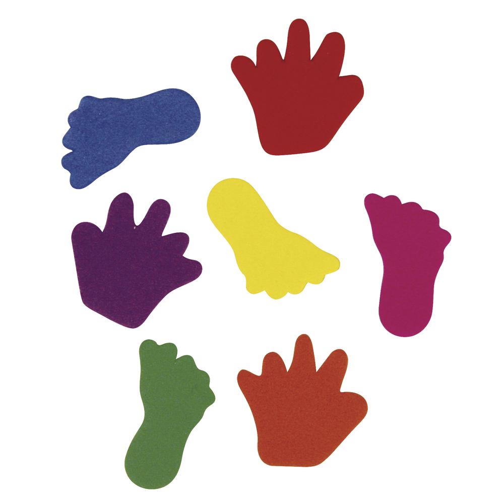 Moosgummi Hände&Füße, 2 Sorten, 3-3,5cm, SB-Btl 130Stück, gemischt