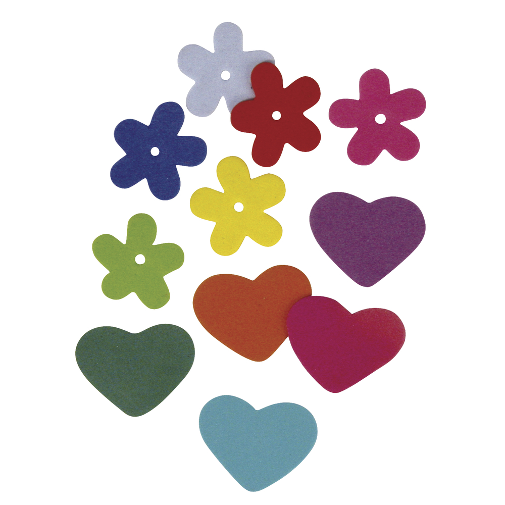 Moosgummi Blumen,Herzen, 2 Sorten, 2,5-3cm, SB-Btl 140Stück, gemischt