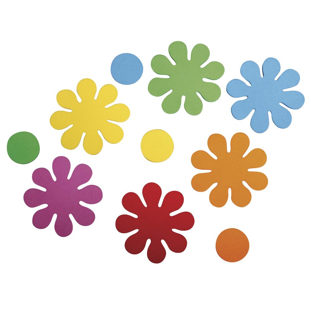 Moosgummi Stanzteile Blumen, 5,5cm, selbstklebend, SB-Btl 40Stück, bunt