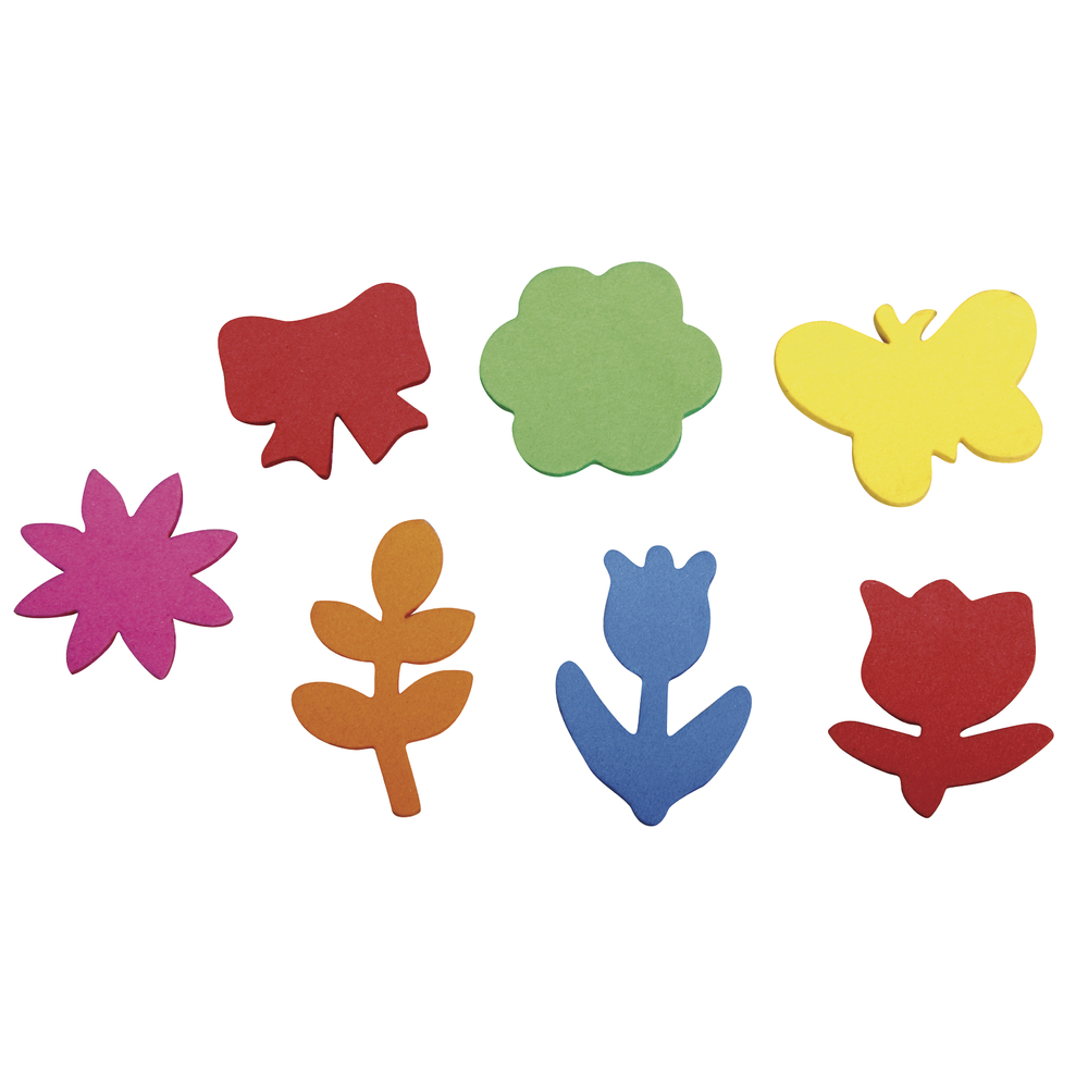 Moosgummi Stanzteile Frühlingserwachen, 2,1-3,4cm,selbstklebend, SB-Btl 100Stück, bunt