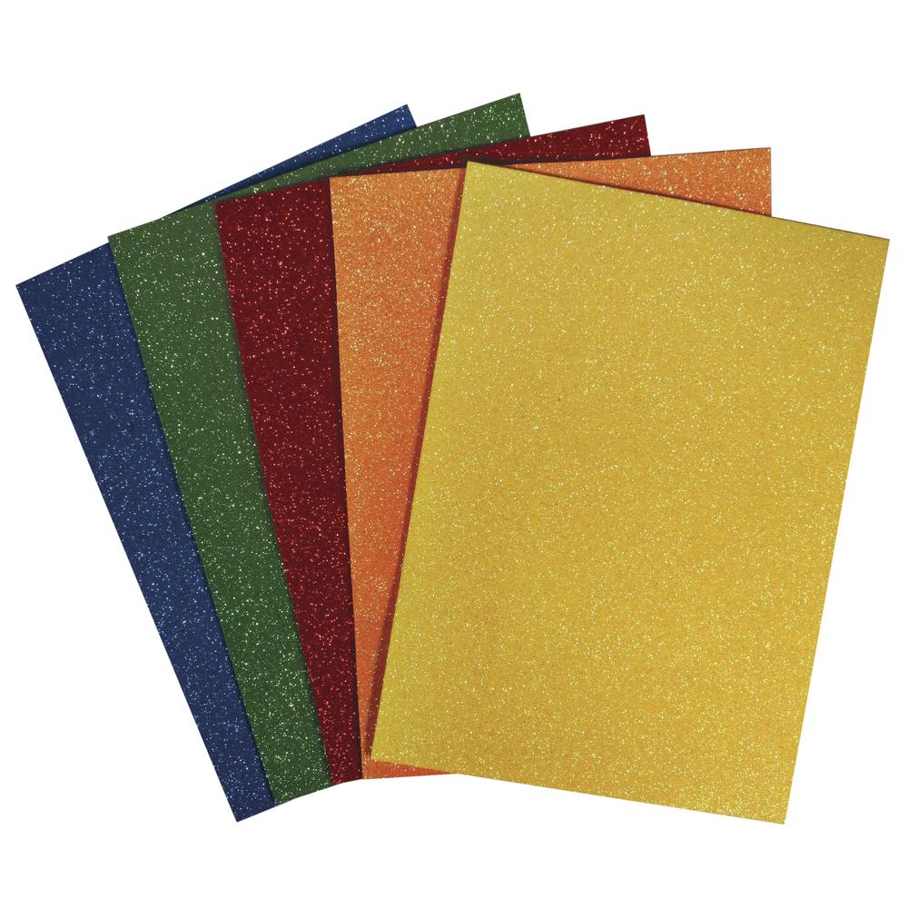 Moosgummi Platten Set, Glitter, 15x22x0,2cm, 5 Farben, SB-Btl 5Stück, bunt