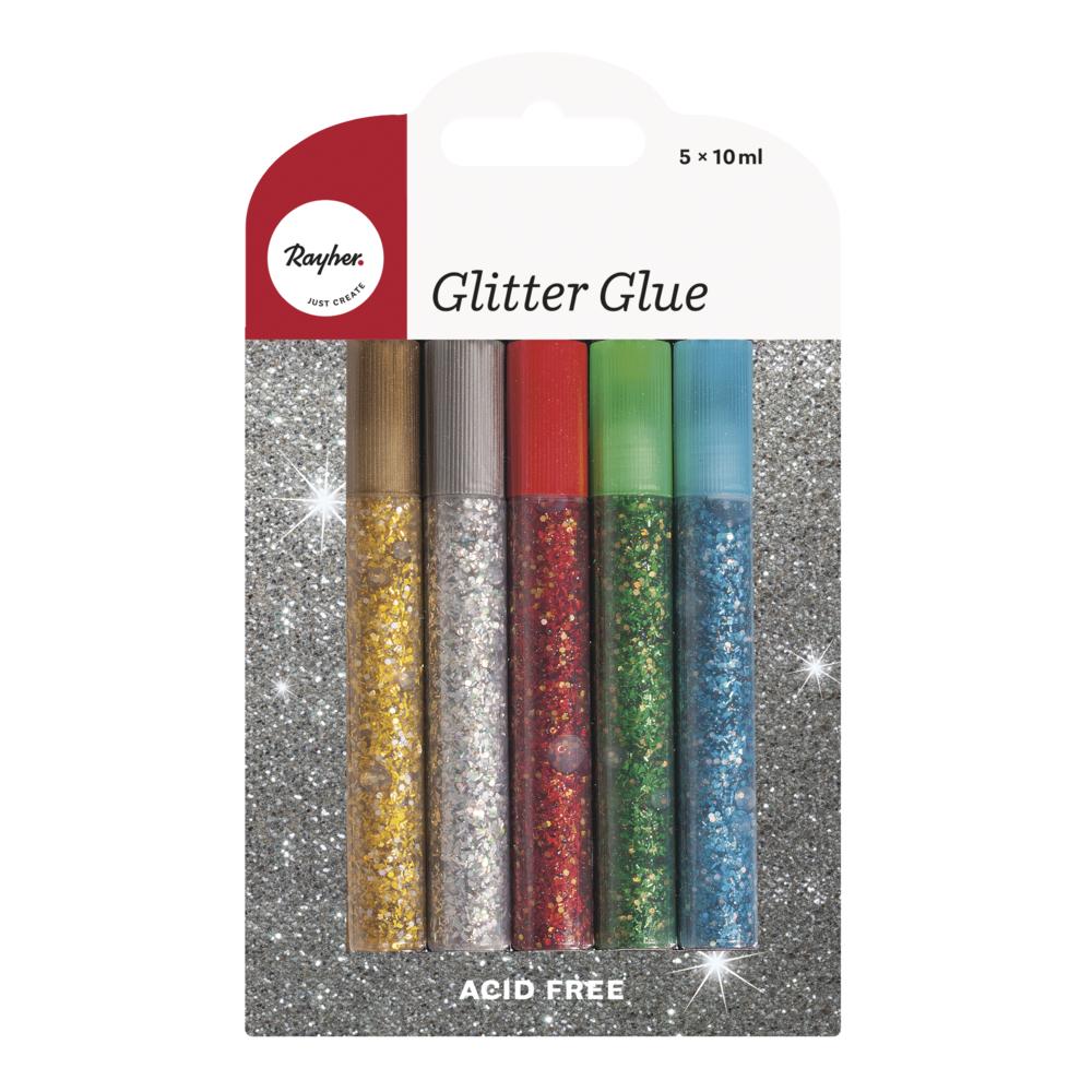 Set Glitter-Glue Basic grob, 10ml, SB-Blister 5Stück
