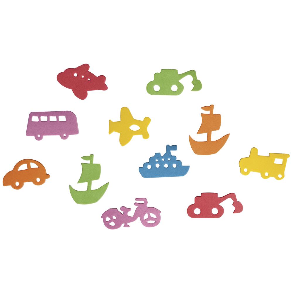 Moosgummi Stanzteile Fahrzeuge, 2-5cm, selbstklebend, SB-Btl 80Stück
