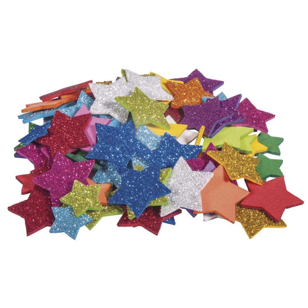 Moosgummi Sterne Glitter, 2+3cm ø, selbstklebend, SB-Btl 100Stück