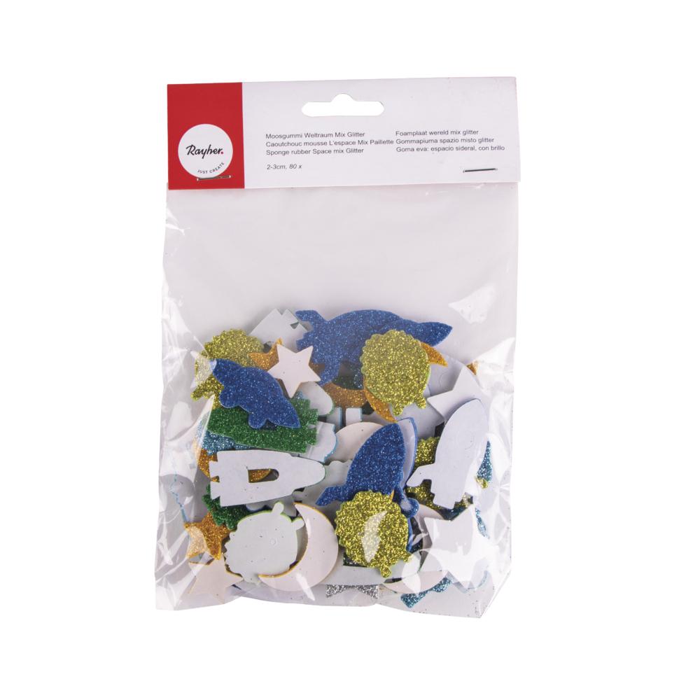 Moosgummi Weltraum Mix Glitter, 2-3cm, selbstklebend, SB-Btl 80Stück