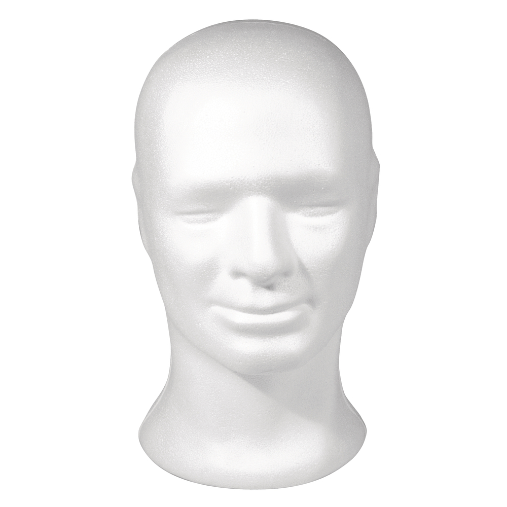 Styropor-Kopf, männlich, 30,5 cm