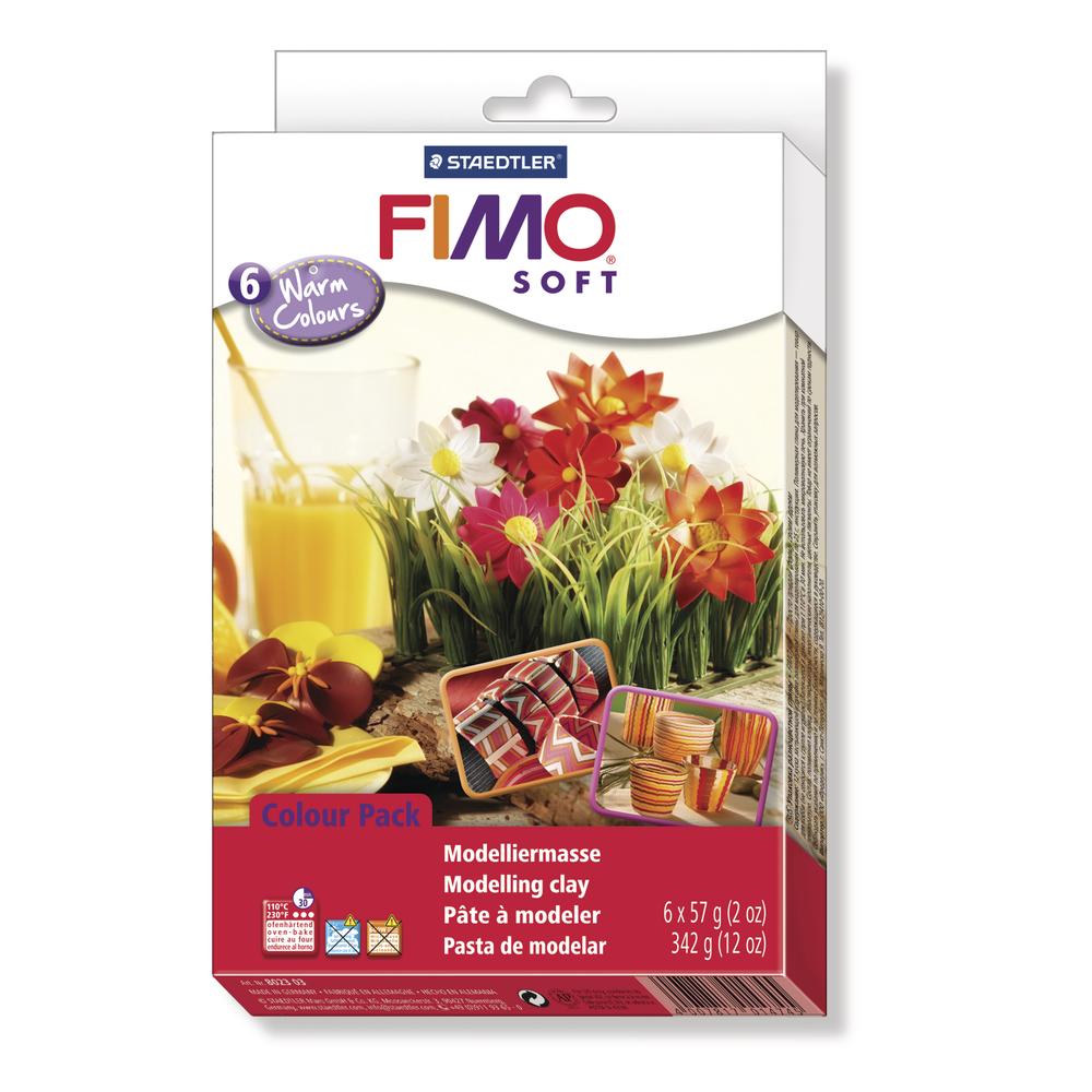 Set: Fimo soft/effect Modelliermassen, Warm Colours, 6x57g, SB-Box