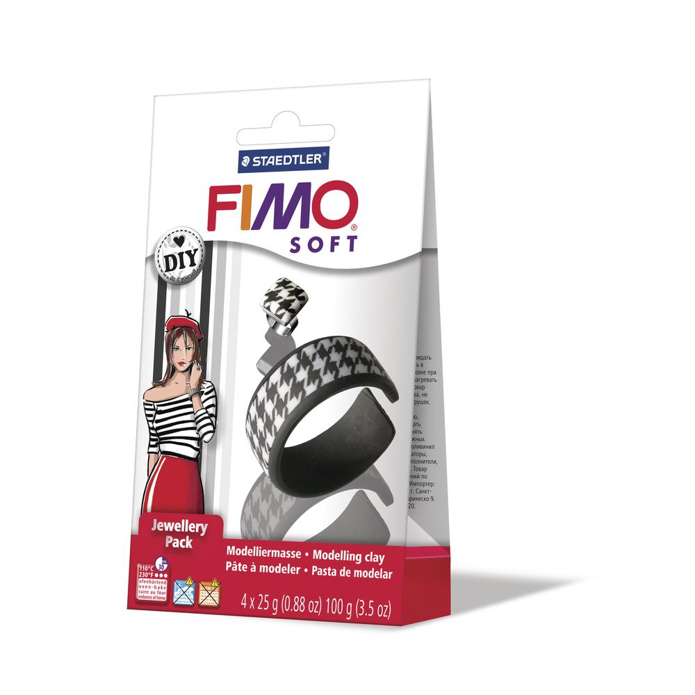 Fimo DIY Schmuckset: Schwarz&Weiß, 1 Armreif, 1 Ring, SB-Box