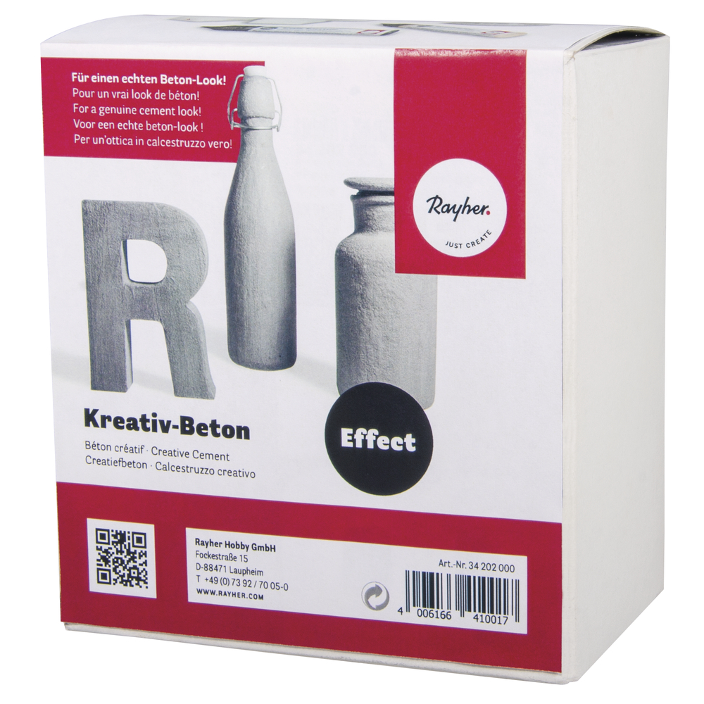Kreativ-Beton Paste, 1 Paste 250ml,2 Lasur 25ml, Karton 1Set