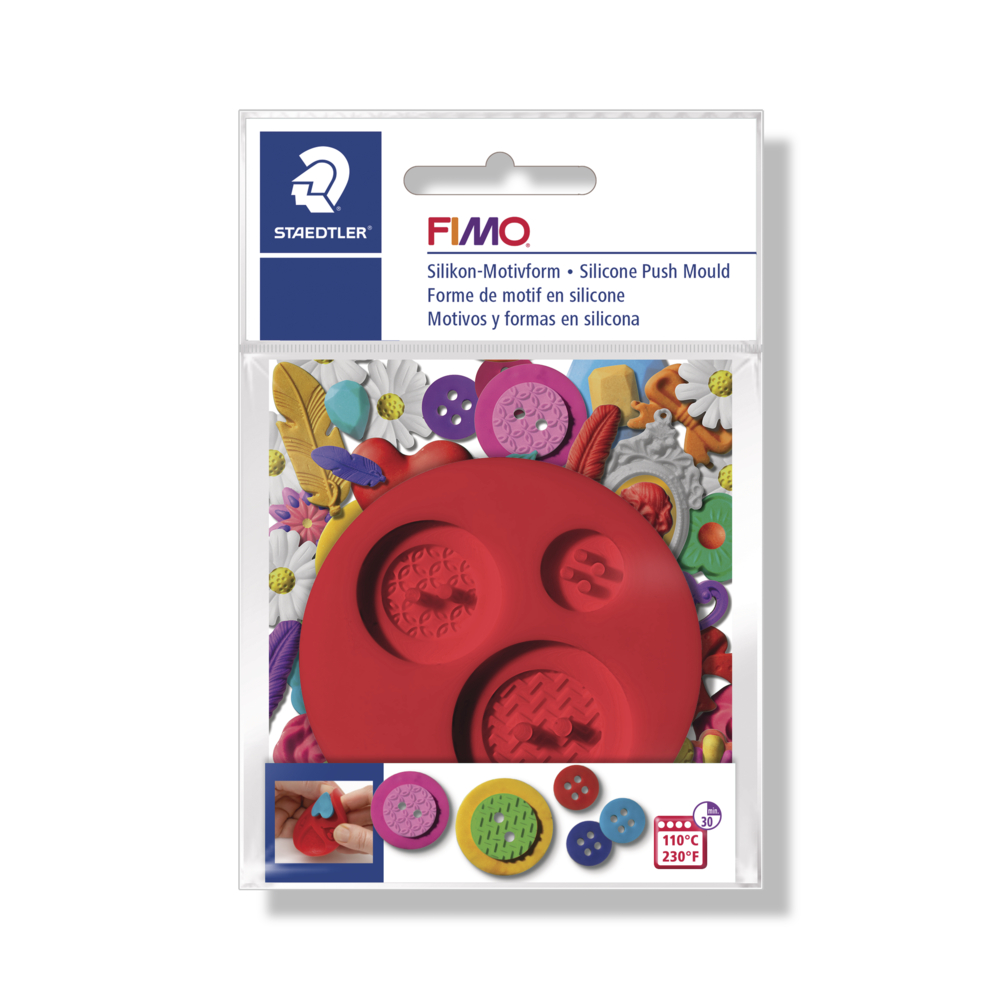Fimo Silikon-Motivform Buttons, 7cm ø, SB-Btl 1Stück