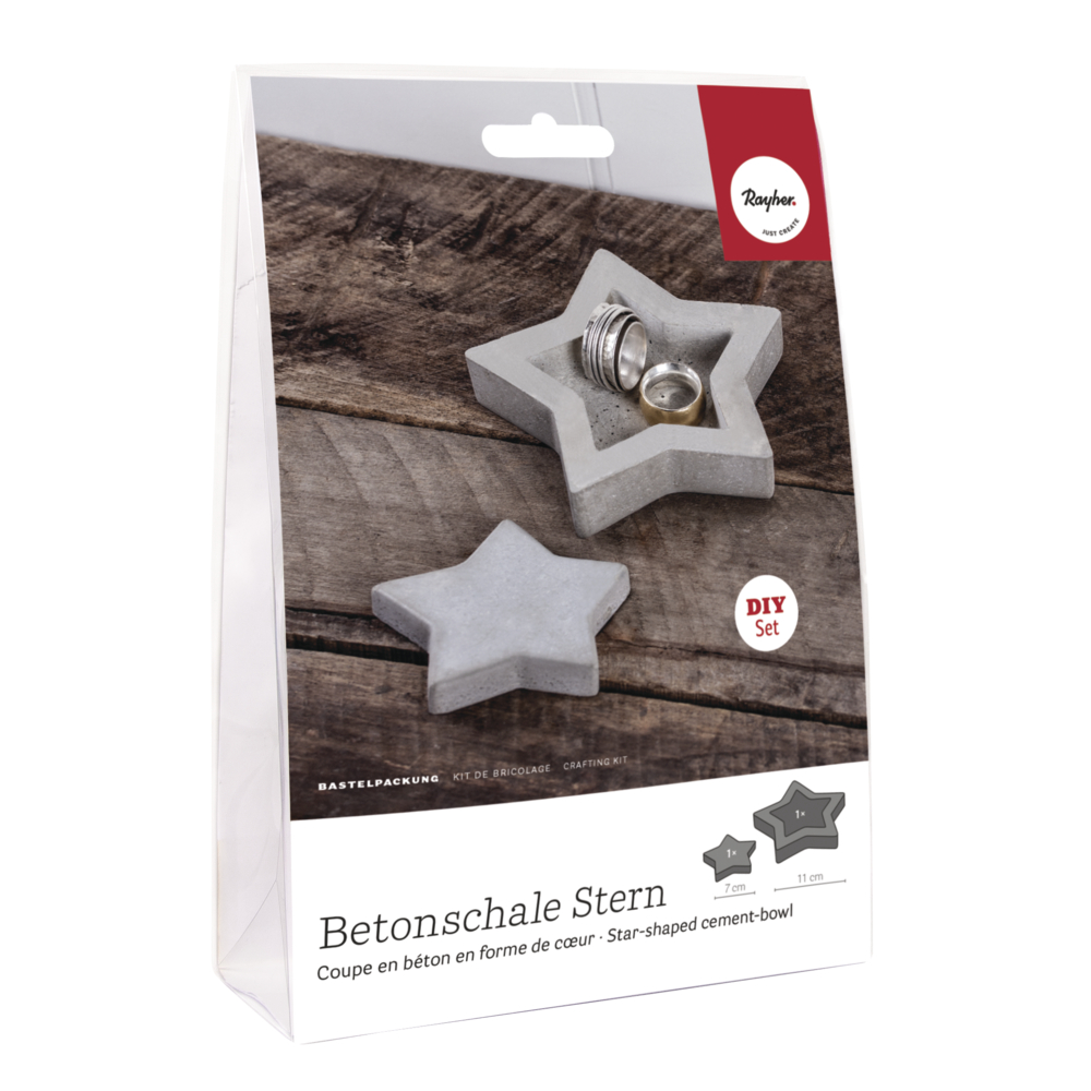 Bastelpackung: Stern-Betonschale + Dekostern, SB-Blisterbox 1Set