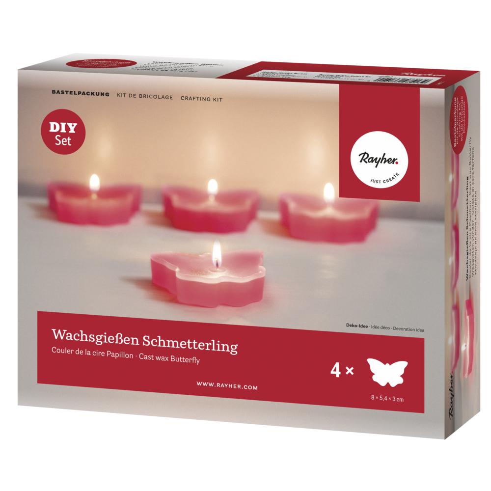 Bastelpackung: Wachsgießen Schmetterling, für 4 Kerzen, Box 1Set