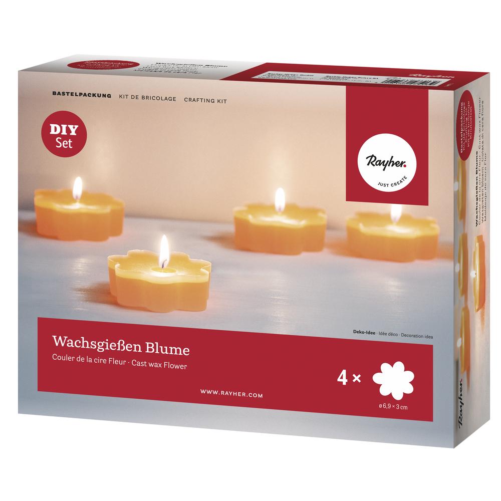 Bastelpackung: Wachsgießen Blume, für 4 Kerzen, Box 1Set