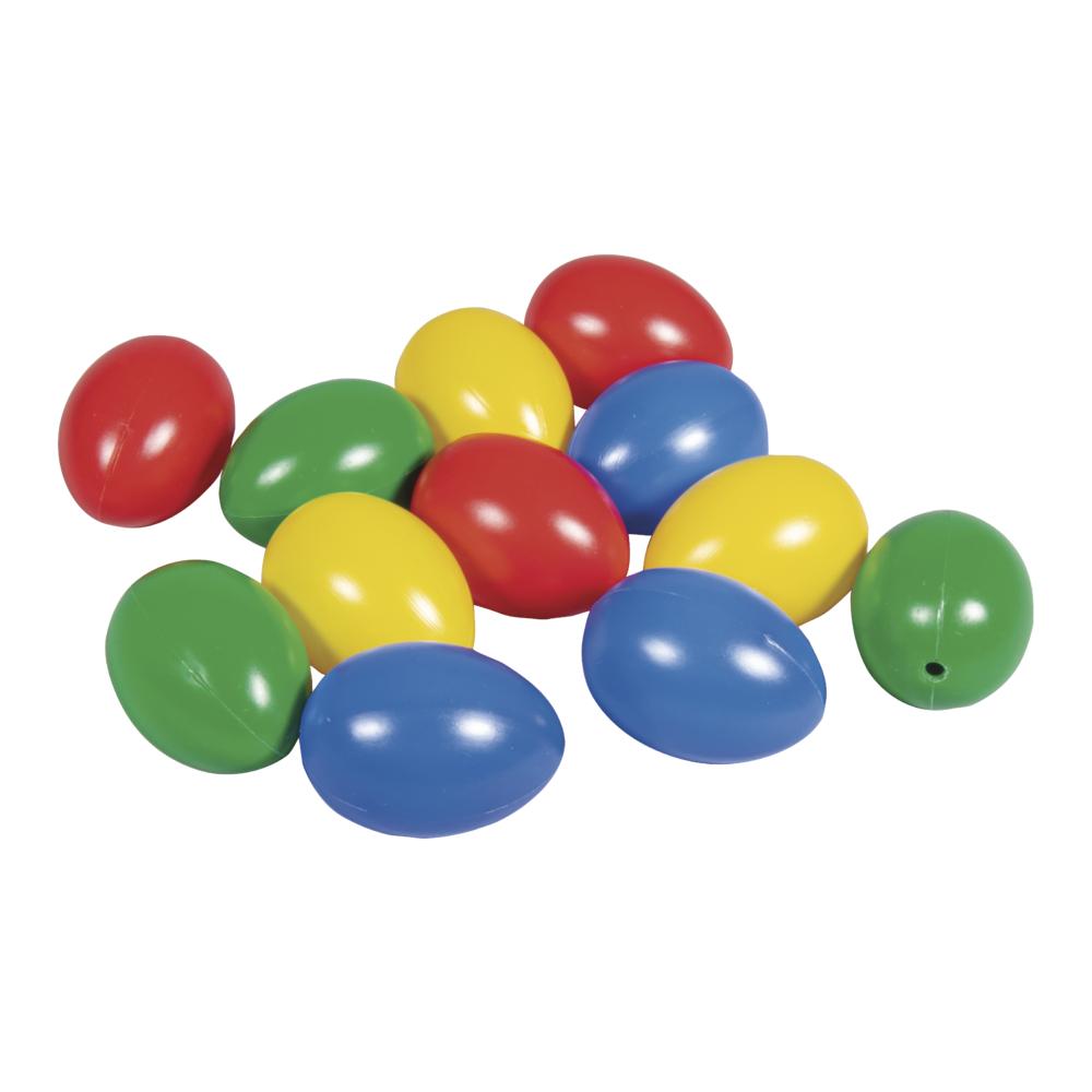 Plastik-Eier, 4,5cm ø, 4 Farben sort., Btl. 12 Stück