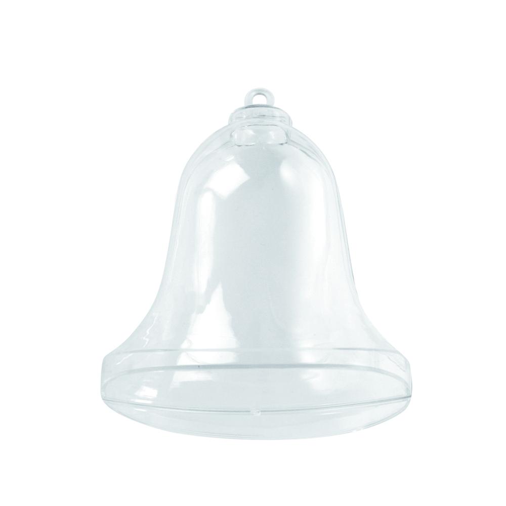 Plastik-Glocke, 2tlg., 9 cm, kristall