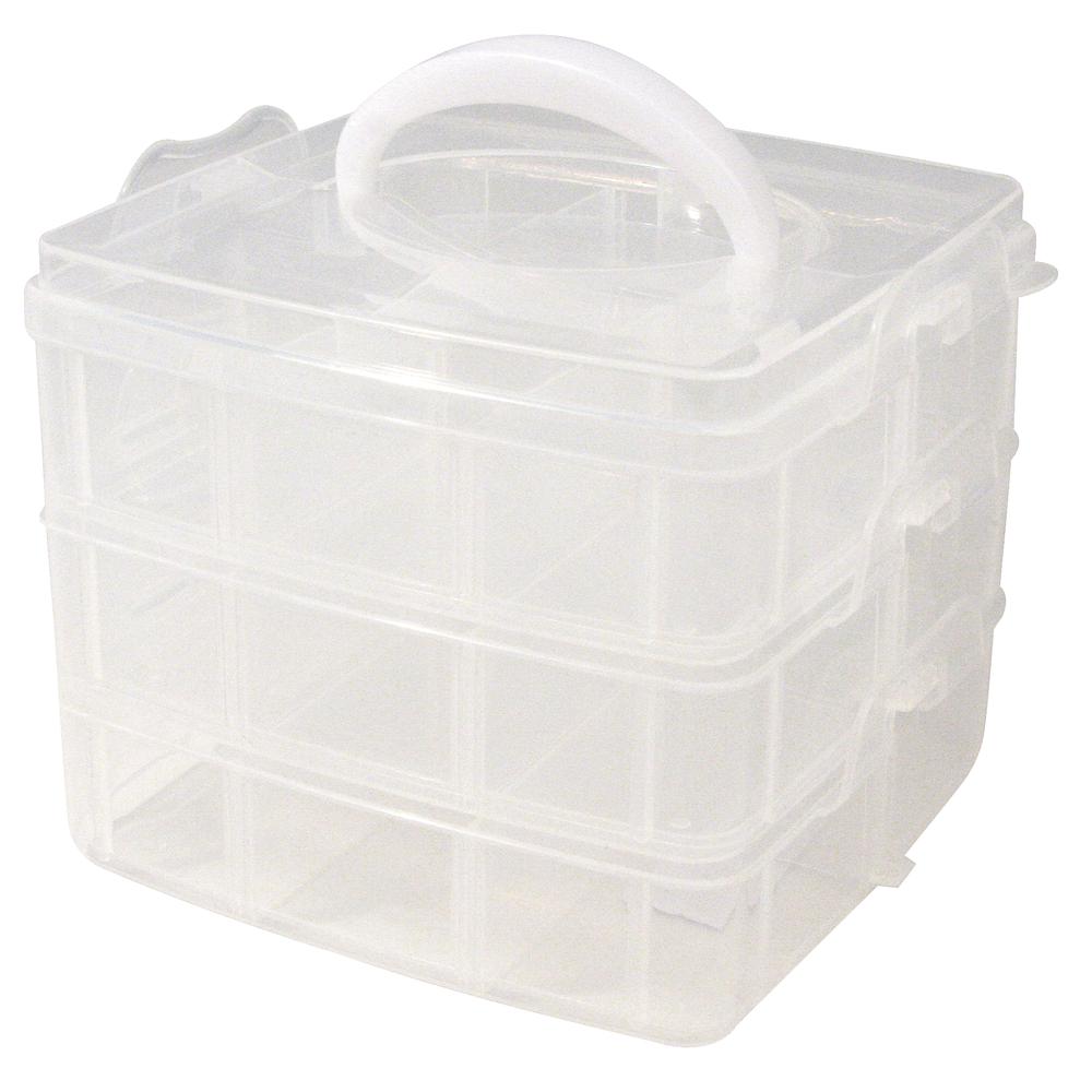Sortierbox mit Tragegriff, 15,5x15,5x12,9 cm, 3x6 Fächer