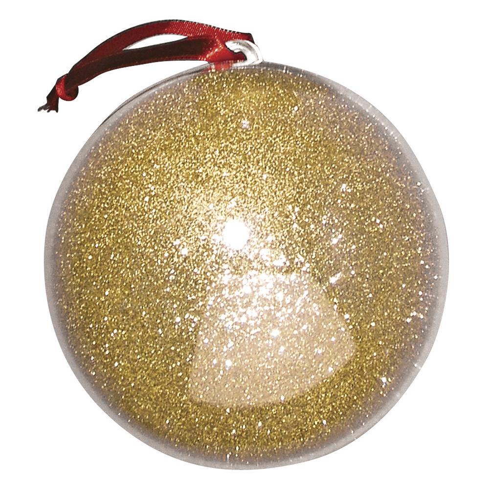 Plastik-Kugel, 2tlg., 10 cm ø, gold