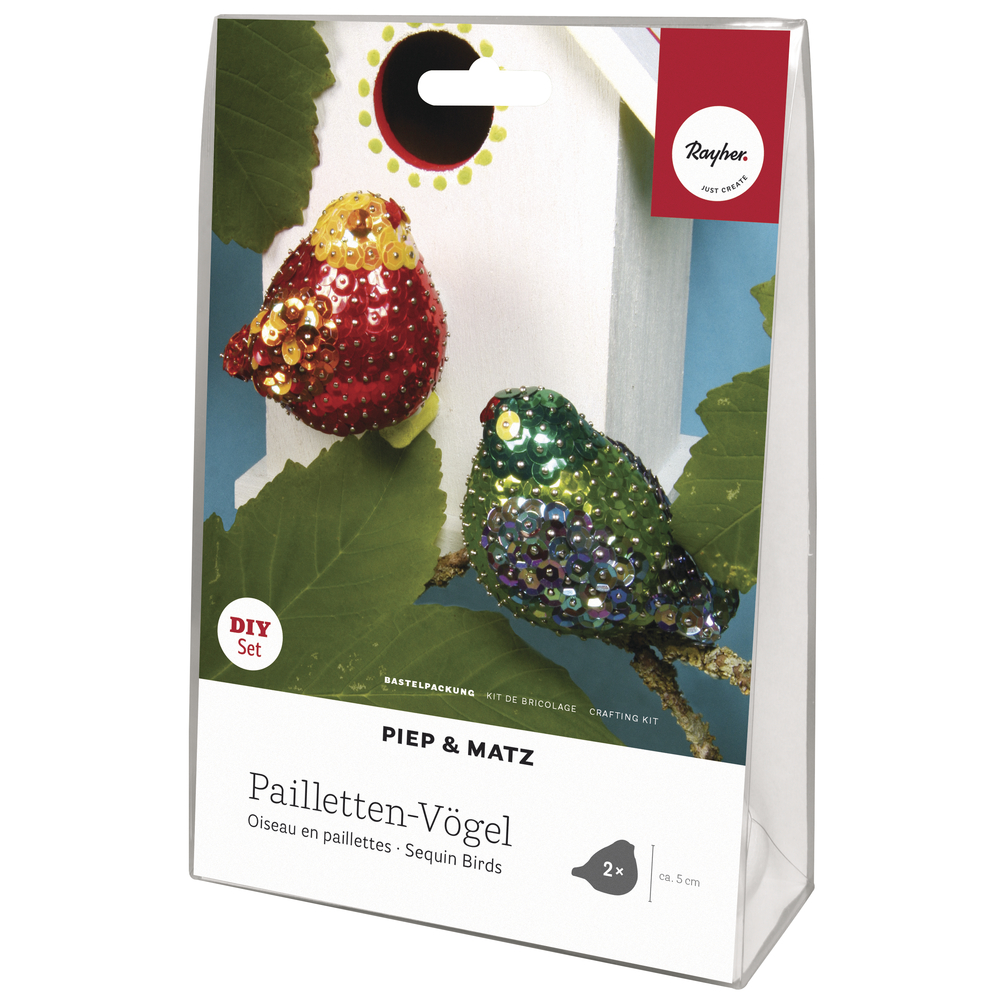 Pailletten Bastelset Vögel Piep&Matz, 2 Vögel, SB-Blisterbox
