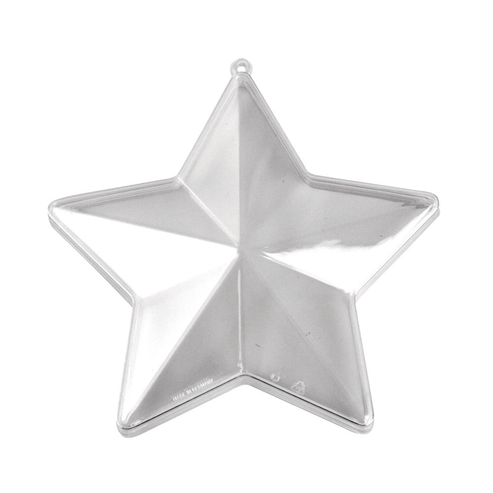 Plastik-Stern, 2tlg., 9,8cm ø, kristall