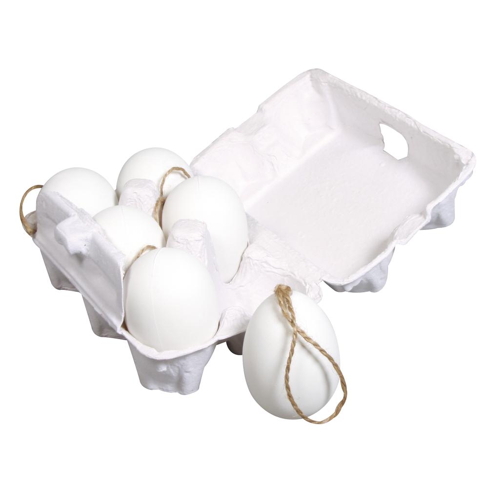 Plastik Eier mit Jute-Hänger, 6x4cm, 6 St. in Eierkarton
