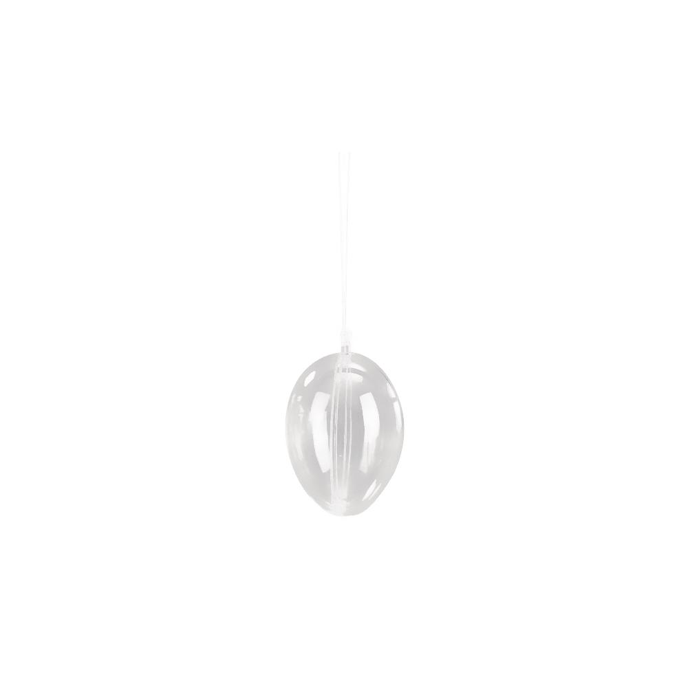 Plastik-Ei, 2tlg., 6cm ø, 6 Stück eingeschweißt, kristall