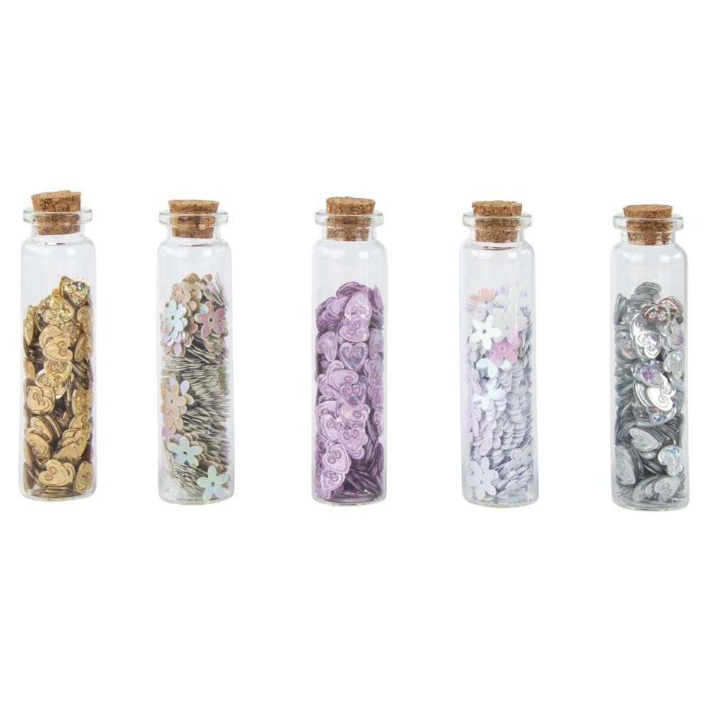 Pailletten Herzen/Blumen sort., 0,8-1cm,in Fläschchen, Box 5Flasche, bunt