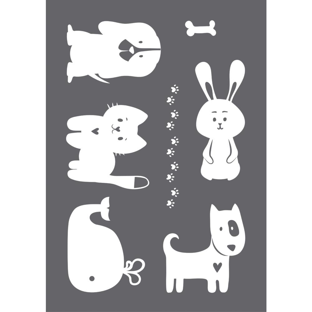 Siebdruck-Schablone Happy Animals A4, 1 Schablone+1 Rakel, SB-Btl