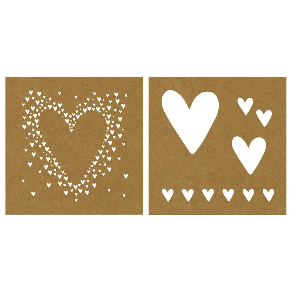 Papier-Schablone Herzen, 20,3x20,3cm, 2 Designs, SB-Karte 2Stück