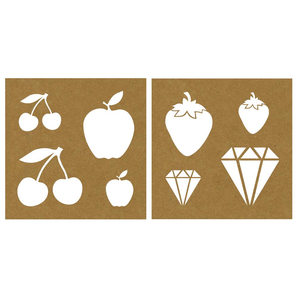 Papier-Schablone Früchte/Diamant, 20,3x20,3cm, 2 Designs, SB-Karte 2Stück
