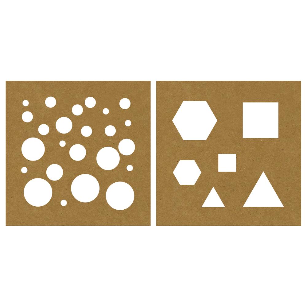 Papier-Schablone Basic Formen, 20,3x20,3cm, 2 Designs, SB-Karte 2Stück