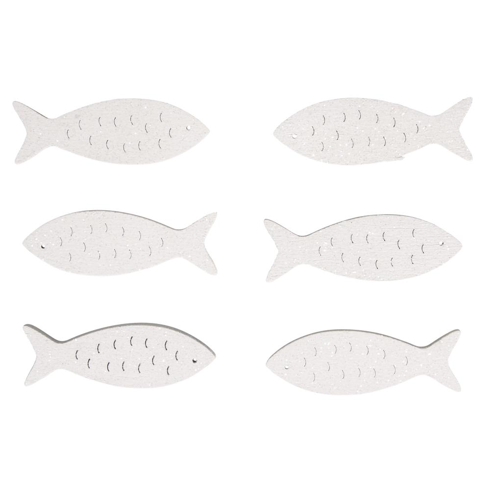 Holz-Streuteile Fische, 5x1,5cm, mit Glitter, SB-Btl 6Stück