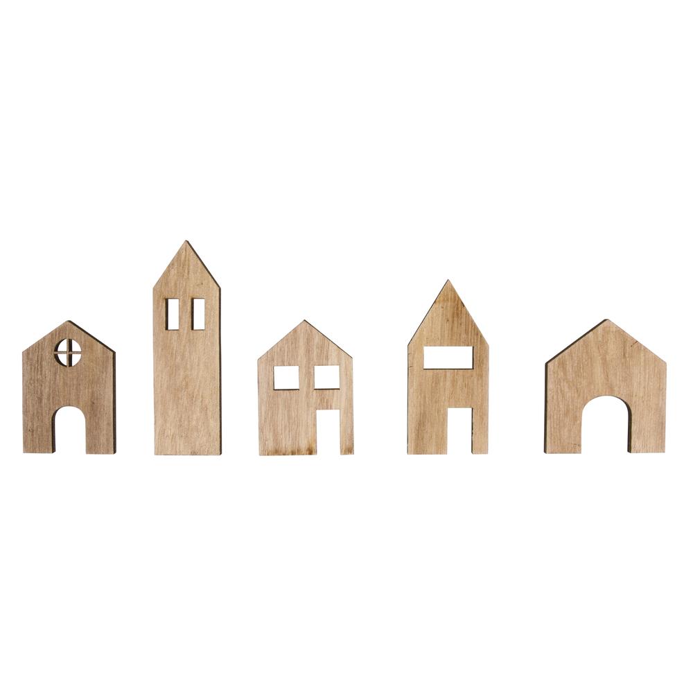 Holz-Streuteile Häuser, 4,5-8cm, SB-Btl 5Stück