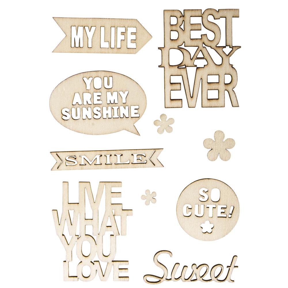 Holz-Schriftzüge Live + Love, 10-teilig, SB-Btl