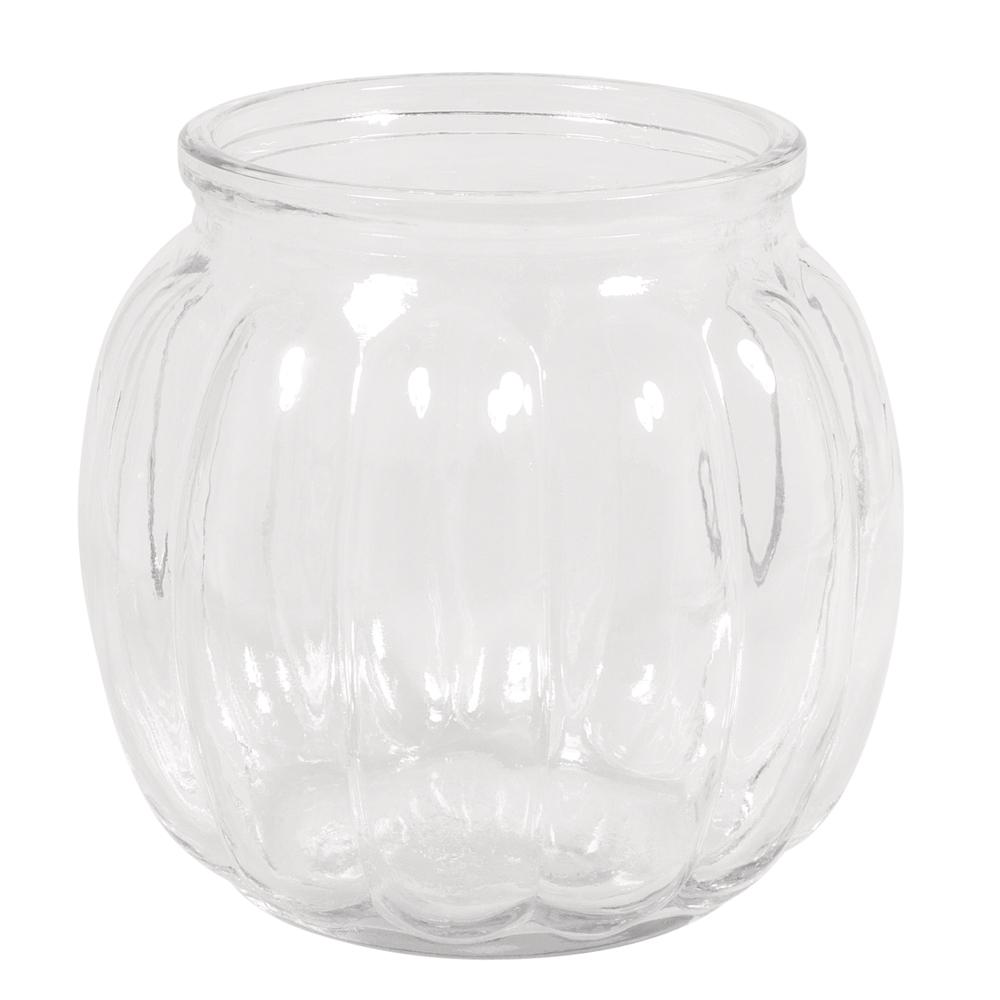 Glas Vase, bauchig mit Rillen, 12x12x11cm, 700ml, Öffnung ø7,5cm