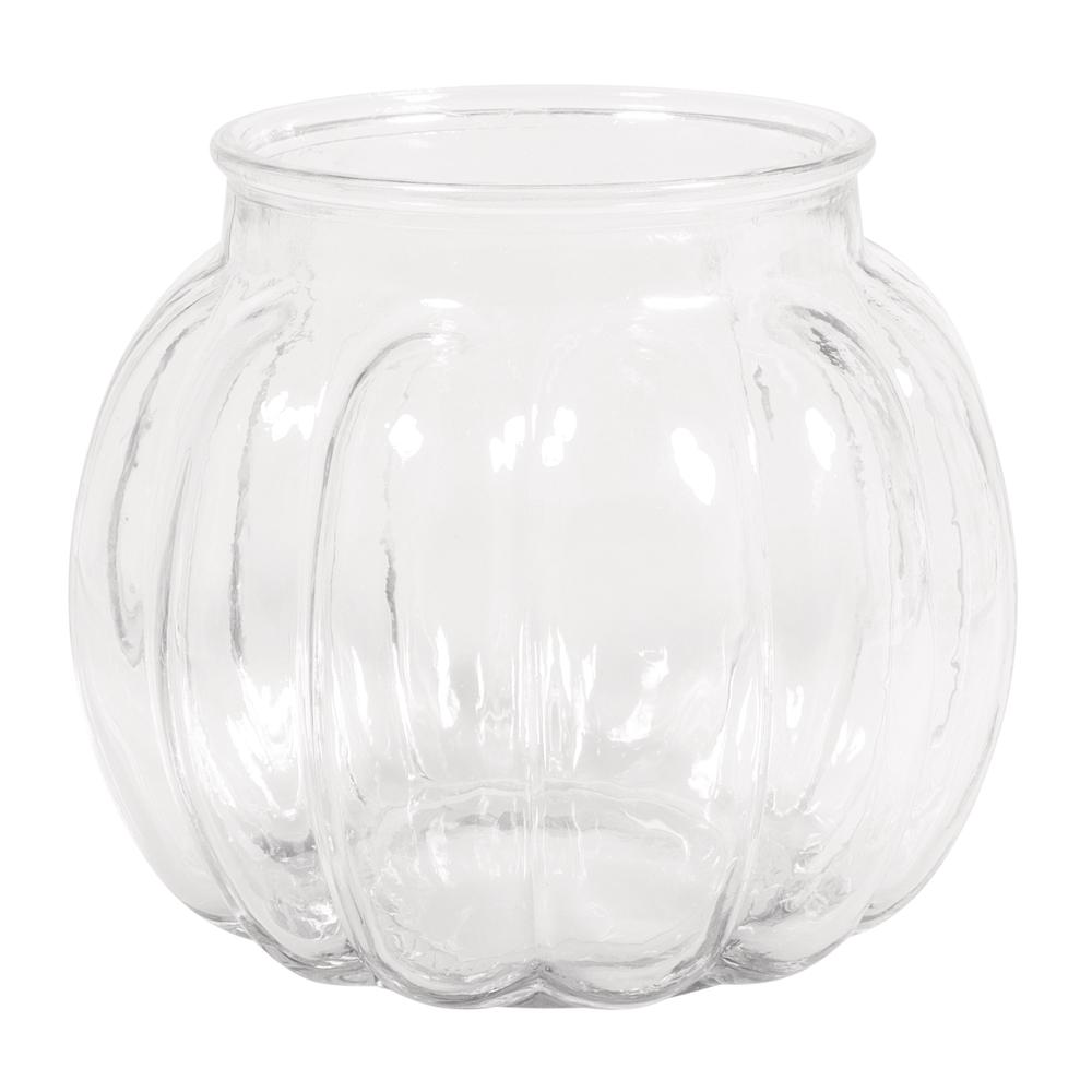 Glas Vase, bauchig mit Rillen, 15x15x13cm, 1100ml, Öffnung ø9cm