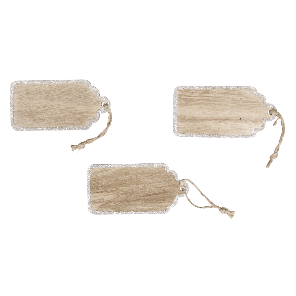 Holz Hangtag mit Jutekordel, 4x8cm, Box 3Stück