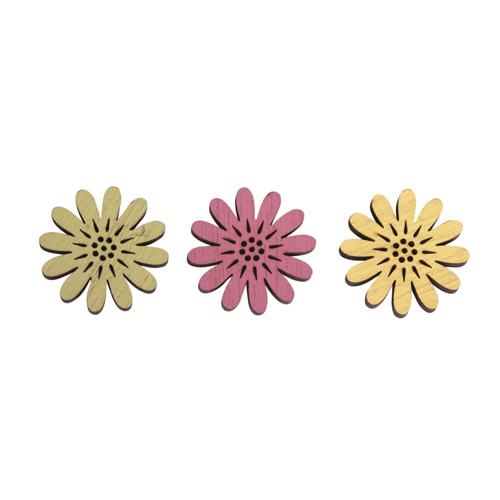Holz-Streuteile Blumen, 3,5cm ø, 0,5cm, Btl 12Stück