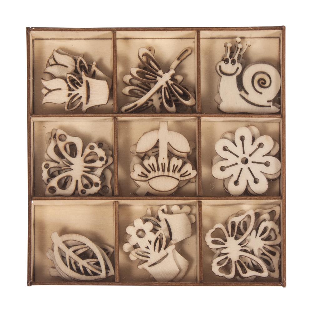 Holz Streuteile Frühling, 9 Motive, ca. 3cm, Box 36Stück